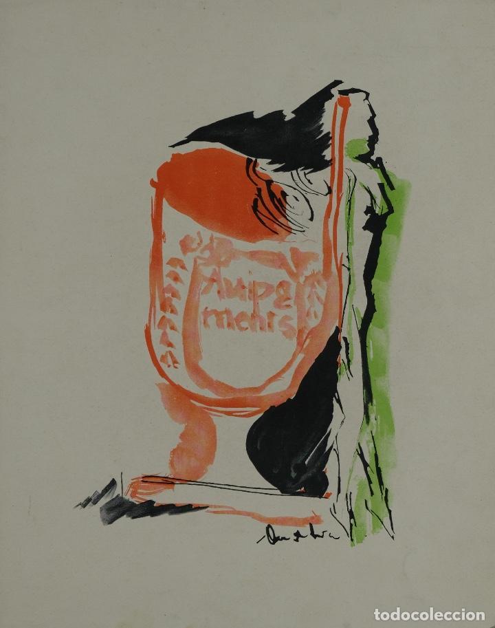ACUARELA SOBRE PAPEL COMPOSICIÓN FIRMA ILEGIBLE SEGUNDA MITAD SIGLO XX (Arte - Acuarelas - Contemporáneas siglo XX)