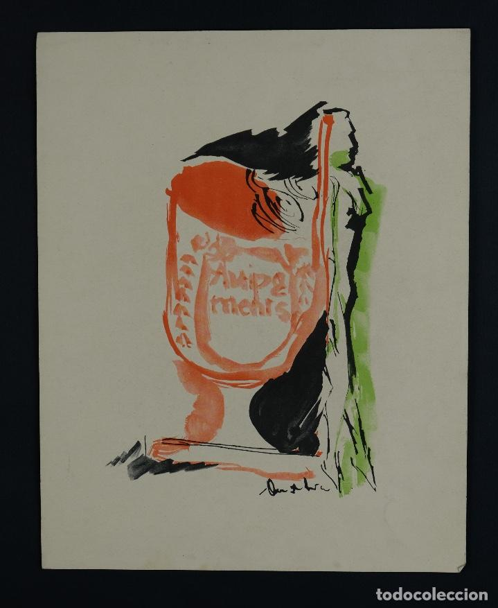 Arte: Acuarela sobre papel Composición firma ilegible segunda mitad siglo XX - Foto 2 - 120564271