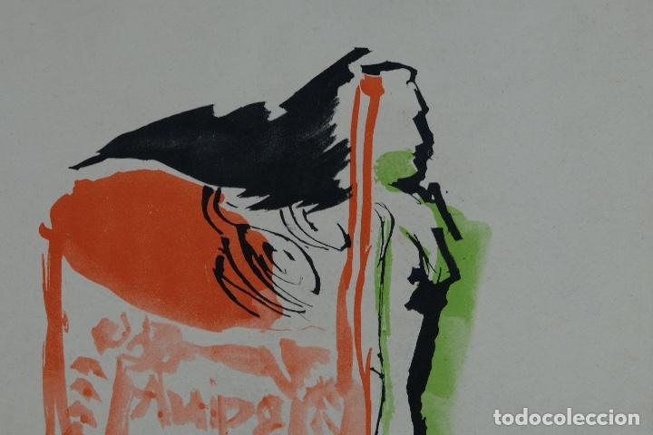 Arte: Acuarela sobre papel Composición firma ilegible segunda mitad siglo XX - Foto 3 - 120564271