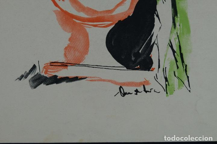 Arte: Acuarela sobre papel Composición firma ilegible segunda mitad siglo XX - Foto 5 - 120564271