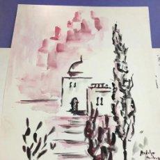 Arte: PINTURA ACUARELA - MEDIDA 42X30 CM. Lote 120837339
