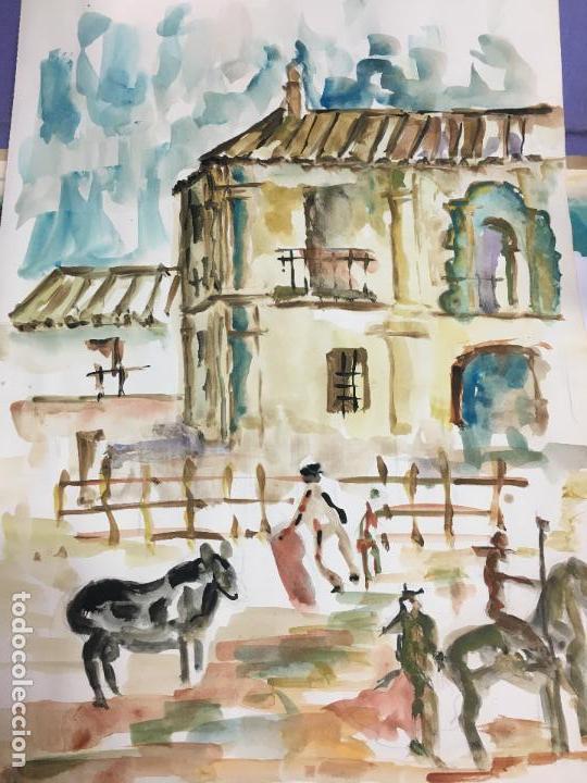 PINTURA ACUARELA - MEDIDA 42X30 CM - FESTEJO TAURINO TOROS TAUROMAQUIA (Arte - Acuarelas - Modernas siglo XIX)