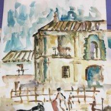 Arte: PINTURA ACUARELA - MEDIDA 42X30 CM - FESTEJO TAURINO TOROS TAUROMAQUIA. Lote 120839495