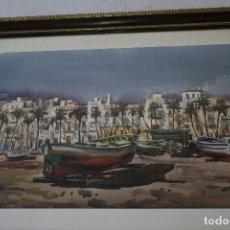 Arte: MANUEL BORDALLO (BARCELONA, 1920 – 1996) BONITA ACUARELA , BARCAS , 72 X 50. FIRMADA. Lote 120905915