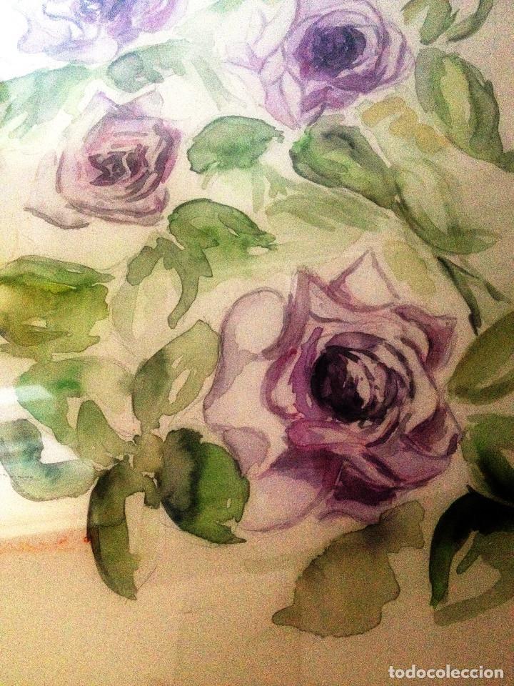 Arte: Acuarela- Flores malva- Con buen marco, cristal y paspartuf- FIRMADA- - Foto 2 - 120978423