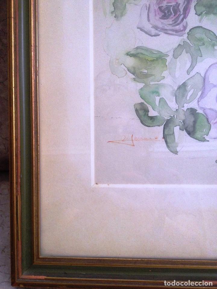 Arte: Acuarela- Flores malva- Con buen marco, cristal y paspartuf- FIRMADA- - Foto 3 - 120978423