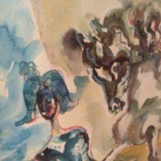Arte: ACUARELA MIGUEL MILLÁN ECUESTRE. ENMARCADA MADERA. Lote 121025768