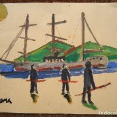 Arte: DIBUJO A TINTAS DE CROMA MIGUEL SERRANO 32 X 44 CM.. Lote 121036175