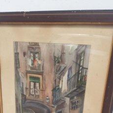 Arte: ACUARELA CALLE DEL BARRIO GOTICO, BARCELONA.. Lote 121231079