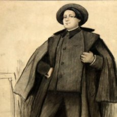 Arte: RICARDO OPISSO I SALA (TARRAGONA, 1880 - BCN, 1966) DIBUJO A CARBON. RETRATO DE ISIDRO NONELL. Lote 121239911