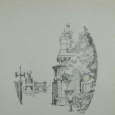 Arte: ACUARELA Y TINTA SOBRE PAPEL VISTA ARCO DE TRIUNFO BARCELONA FIRMADO RAMON RUBIO 1992. Lote 121780227