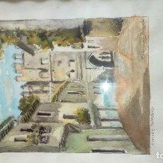 Arte: RINCON TOLEDANO RODRIGUEZ PESCADOR ACUARELA. Lote 121903359