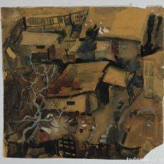 Arte: ACUARELA Y GOUACHE SOBRE PAPEL VISTA CASAS FINALES SIGLO XIX. Lote 121904035