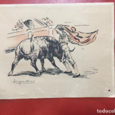 Arte: LOPEZ ALONSO ACUARELA ORIGINAL , DE TEMA TAURINO. Lote 122005835