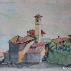 Arte: ACUARELA VINTAGE DEL AÑO 64 FIRMADA PUEBLO DE ESPAÑA. Lote 122174399