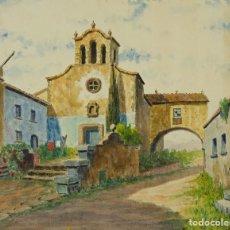 Arte: ACUARELA SOBRE PAPEL VISTA CALLE DE PUEBLO FIRMADA CABRER MEDIADOS SIGLO XX. Lote 123273055