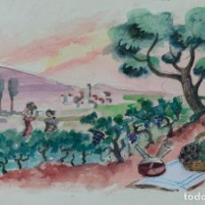 Arte: ACUARELA SOBRE PAPEL PAISAJE VIÑAS MEDIADOS SIGLO XX. Lote 123273671