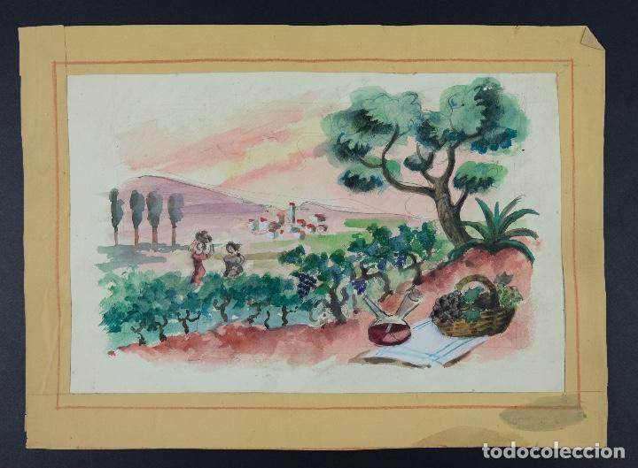 Arte: Acuarela sobre papel Paisaje viñas mediados siglo XX - Foto 2 - 123273671
