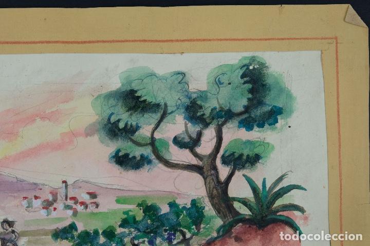 Arte: Acuarela sobre papel Paisaje viñas mediados siglo XX - Foto 3 - 123273671