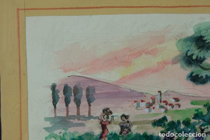 Arte: Acuarela sobre papel Paisaje viñas mediados siglo XX - Foto 4 - 123273671