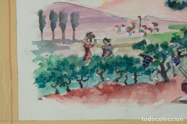 Arte: Acuarela sobre papel Paisaje viñas mediados siglo XX - Foto 5 - 123273671