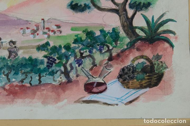 Arte: Acuarela sobre papel Paisaje viñas mediados siglo XX - Foto 6 - 123273671