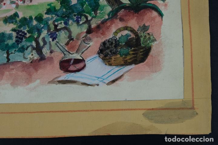 Arte: Acuarela sobre papel Paisaje viñas mediados siglo XX - Foto 7 - 123273671