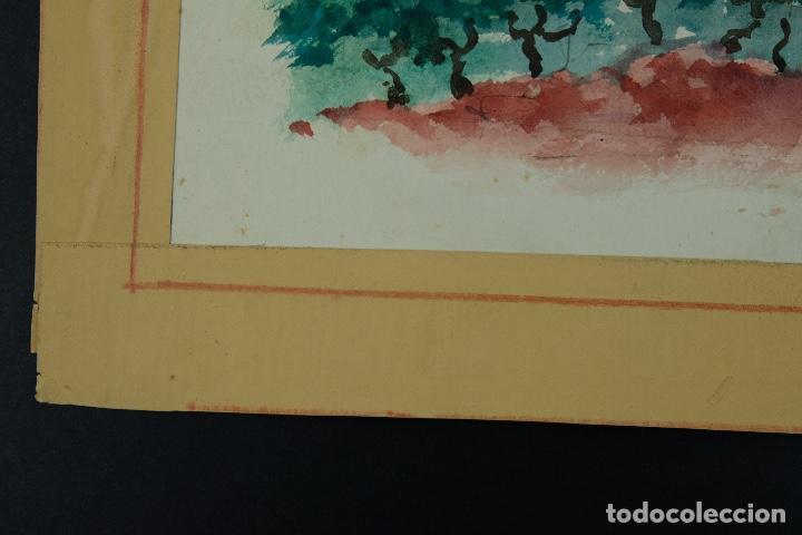 Arte: Acuarela sobre papel Paisaje viñas mediados siglo XX - Foto 8 - 123273671