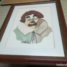 Arte: BONITA ACUARELA DE PAYASO FIRMA A. ROMERO 94 MED. 56,5X46,5CM MIREN FOTOS. Lote 123289687
