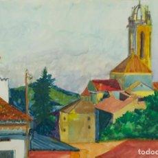 Arte: ISABEL SERRAHIM (1934-1999) ACUARELA Y GOUACHE SOBRE PAPEL VISTA PUEBLO . Lote 123538839