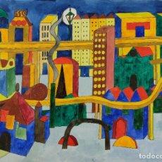Arte: ISABEL SERRAHIMA (1934-1999) GOAUCHE Y ACUARELA SOBRE PAPEL VISTA CIUDAD . Lote 123539299