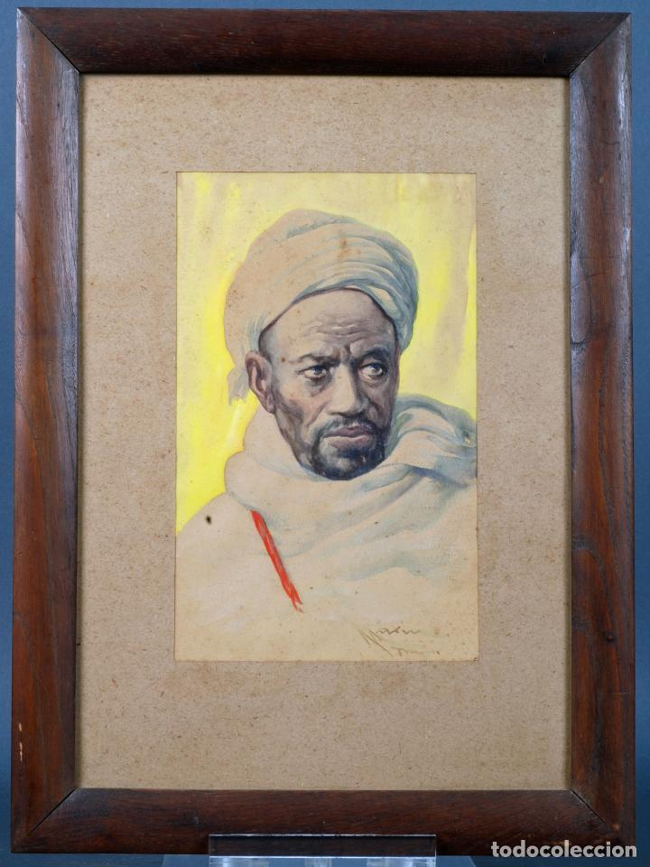 ACUARELA PERSONAJE ORIENTALISTA DIEGO MARÍN LÓPEZ TANGER FIRMADO GRANADA 1865 1917 (Arte - Acuarelas - Contemporáneas siglo XX)