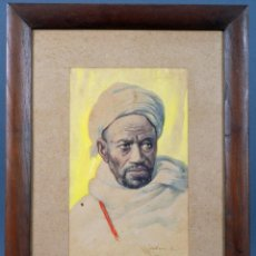 Arte: ACUARELA PERSONAJE ORIENTALISTA DIEGO MARÍN LÓPEZ TANGER FIRMADO GRANADA 1865 1917. Lote 124010999