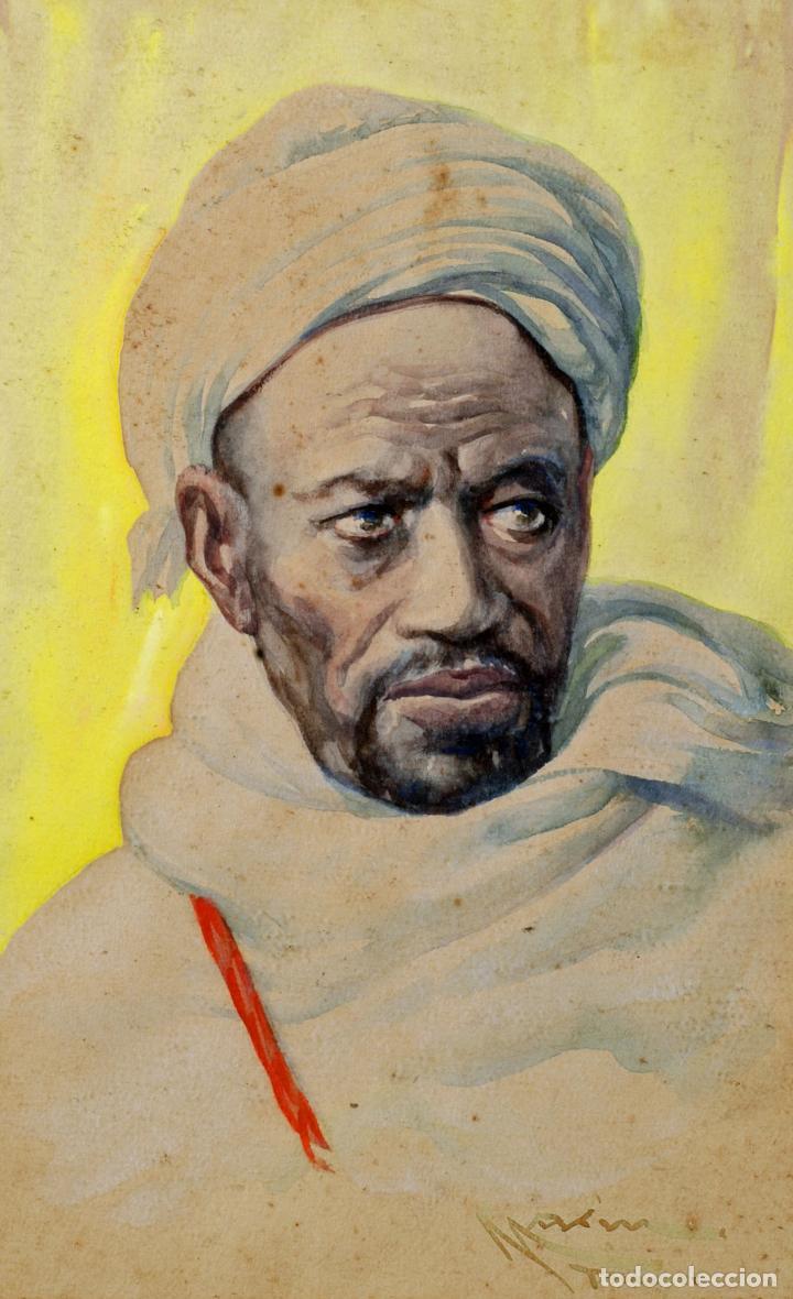 Arte: Acuarela personaje orientalista Diego Marín López Tanger firmado Granada 1865 1917 - Foto 2 - 124010999
