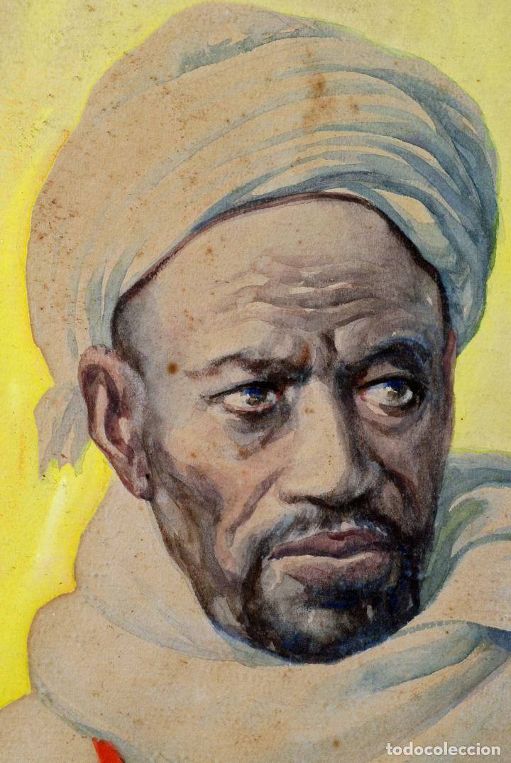 Arte: Acuarela personaje orientalista Diego Marín López Tanger firmado Granada 1865 1917 - Foto 3 - 124010999