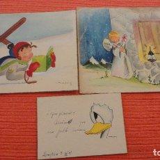 Arte: ANTIGUO CONJUNTO DE 3 POSTALES PINTADAS A MANO.FIRMADAS MANY.ZARAGOZA AÑOS 50. Lote 124667263