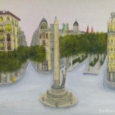 Arte: TINTA Y GOUACHE SOBRE PAPEL VISTA BARCELONA FIRMADO CASTANY 1990. Lote 125148419