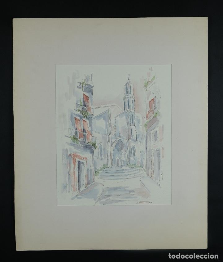 Arte: Acuarela y tinta sobre papel Calle de pueblo firma ilegible tercer tercio siglo XX - Foto 2 - 125148959