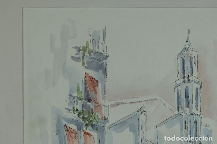 Arte: Acuarela y tinta sobre papel Calle de pueblo firma ilegible tercer tercio siglo XX - Foto 3 - 125148959