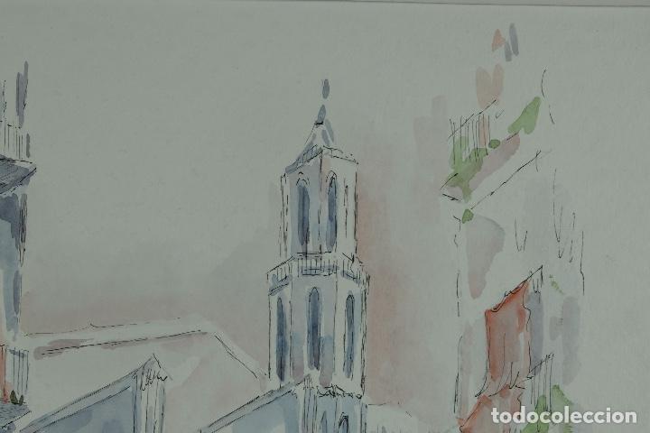 Arte: Acuarela y tinta sobre papel Calle de pueblo firma ilegible tercer tercio siglo XX - Foto 4 - 125148959