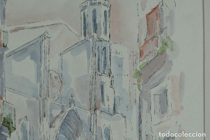 Arte: Acuarela y tinta sobre papel Calle de pueblo firma ilegible tercer tercio siglo XX - Foto 5 - 125148959