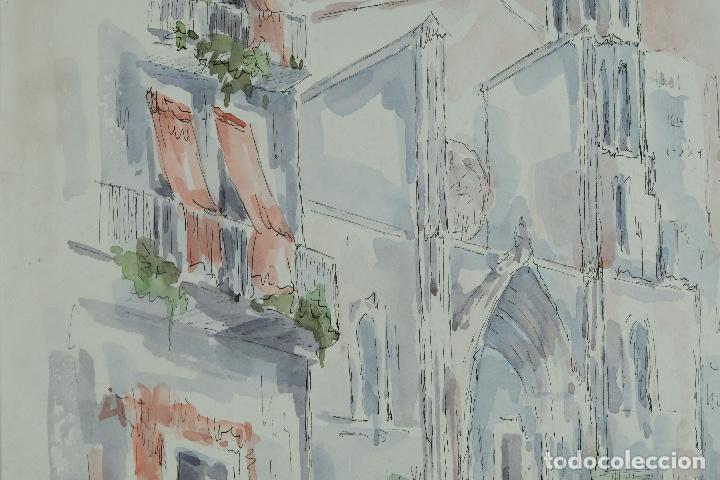 Arte: Acuarela y tinta sobre papel Calle de pueblo firma ilegible tercer tercio siglo XX - Foto 6 - 125148959