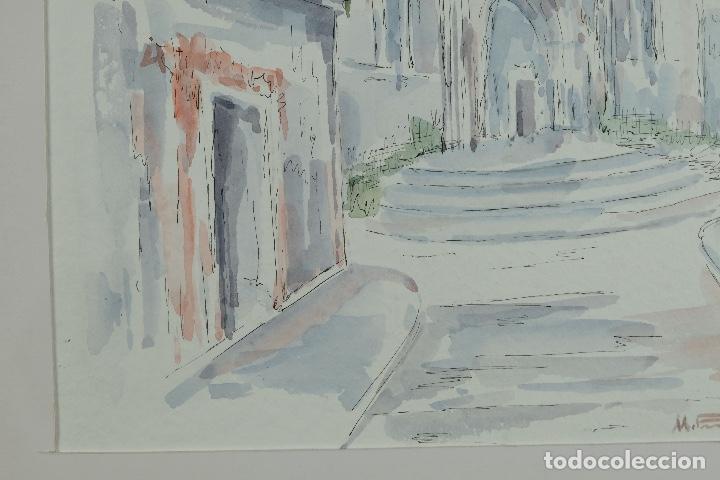Arte: Acuarela y tinta sobre papel Calle de pueblo firma ilegible tercer tercio siglo XX - Foto 7 - 125148959