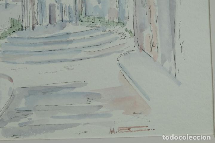 Arte: Acuarela y tinta sobre papel Calle de pueblo firma ilegible tercer tercio siglo XX - Foto 8 - 125148959