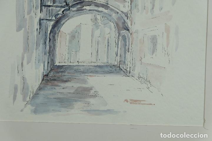 Arte: Acuarela y tinta sobre papel Calle de pueblo firma ilegible tercer tercio siglo XX - Foto 9 - 125148959