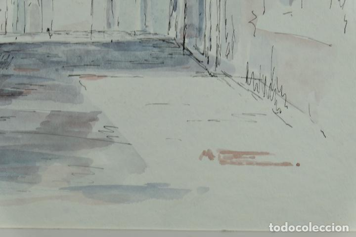 Arte: Acuarela y tinta sobre papel Calle de pueblo firma ilegible tercer tercio siglo XX - Foto 10 - 125148959