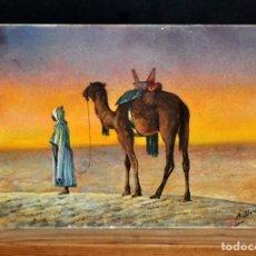 Arte: FIRMADO A. BROS. ACUARELA SOBRE PAPEL. AÑOS 70. PERSONAJE ORIENTALISTA. Lote 125239391