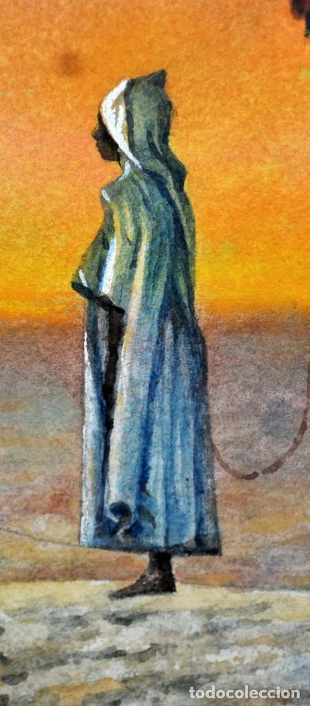 Arte: FIRMADO A. BROS. ACUARELA SOBRE PAPEL. AÑOS 70. PERSONAJE ORIENTALISTA - Foto 2 - 125239391