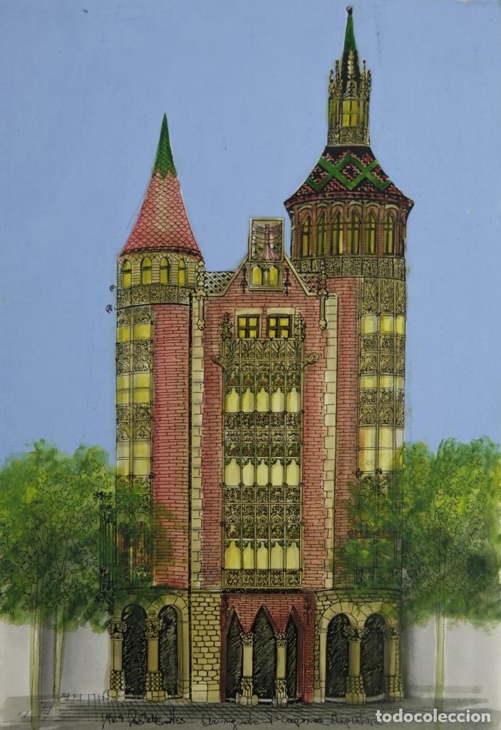 ACUARELA GOUACHE Y TINTA SOBRE PAPEL VISTA EDIFICIO DIAGONAL BARCELONA FIRMADO CASTELLA 1989 (Arte - Acuarelas - Contemporáneas siglo XX)