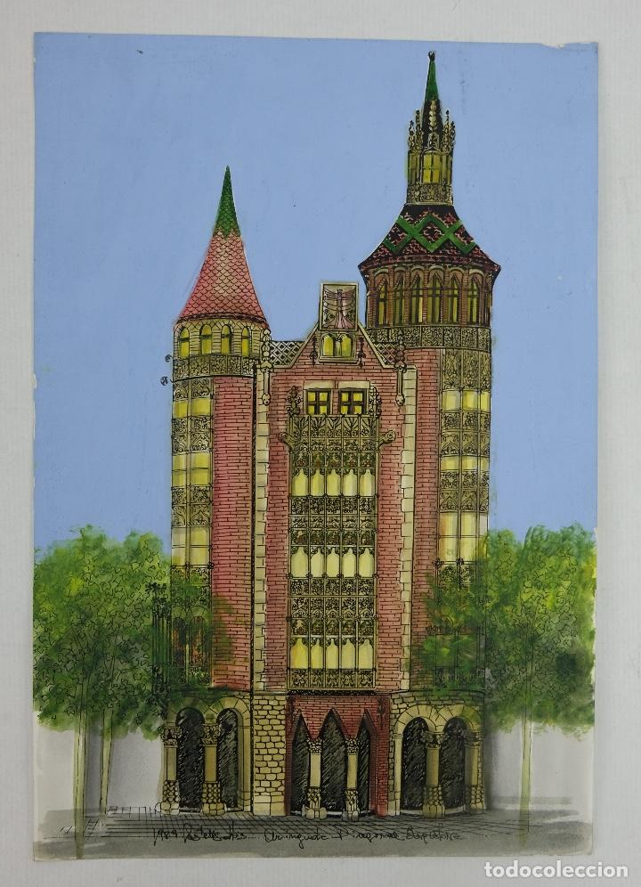 Arte: Acuarela gouache y tinta sobre papel vista edificio Diagonal Barcelona firmado Castella 1989 - Foto 2 - 125424915